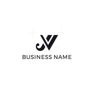 Elegant Letter Jv Logo