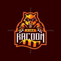 Fire Racoon Mascot Logo