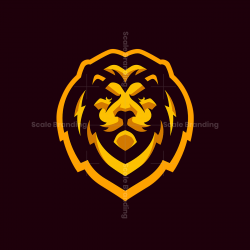 Gold Lion Mascot Logo