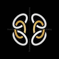 Abstract Gold Silver Brain Logo