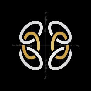 Abstract Gold Silver Brain Logo