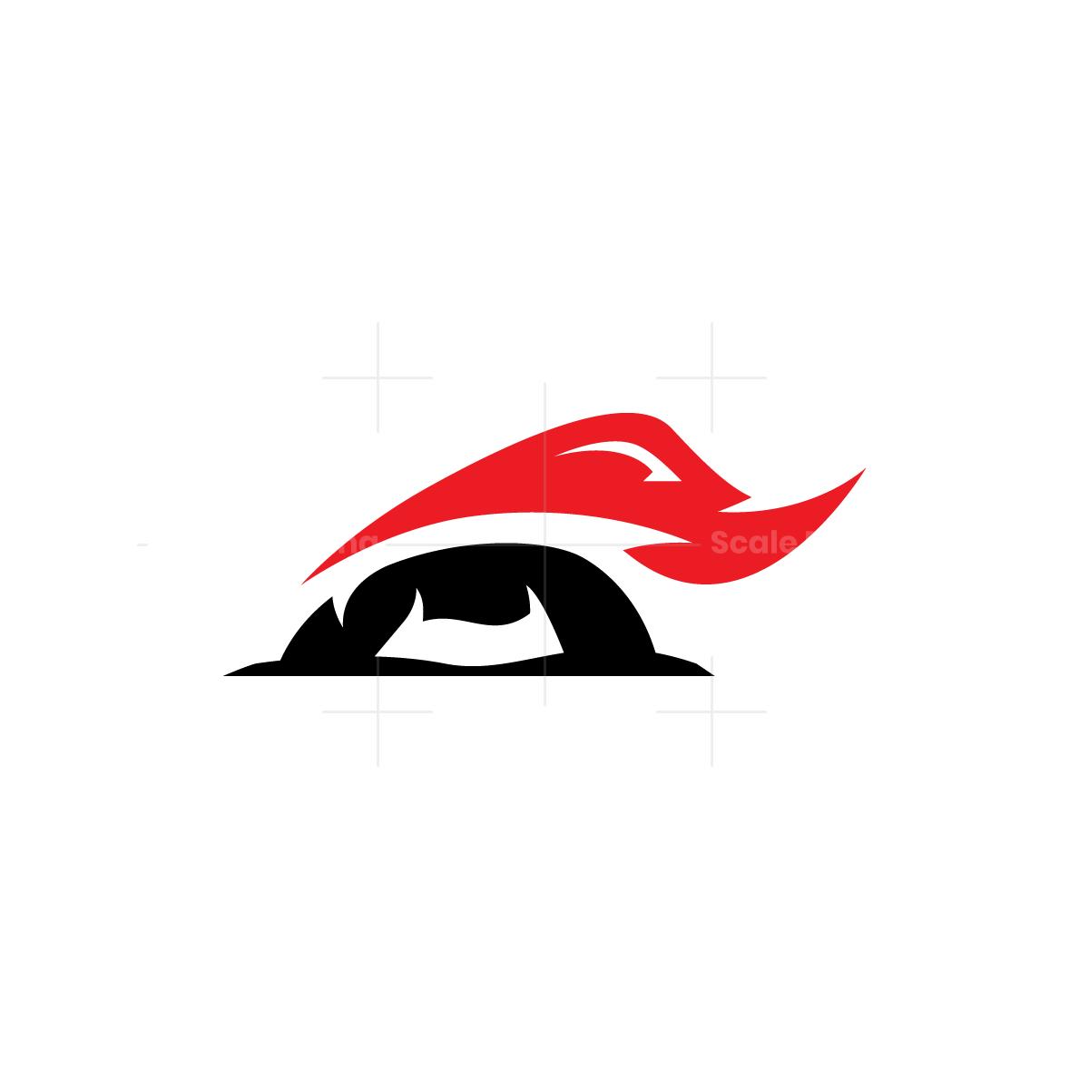 Black Red Attacking Rhino Logo