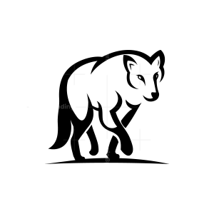 Black Walking Wolf Logo