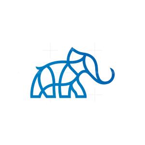 Blue Line Elephant Logo Elephant Logo