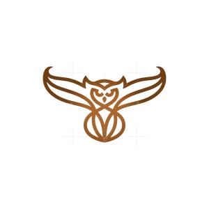 Brown Flying Owl Logo Owl Logo
