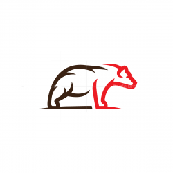 Brown Red Grizzly Bear Logo