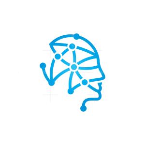 Connection Mind Logo Technology Head Logo