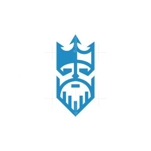 Crowned Neptune Poseidon Logo