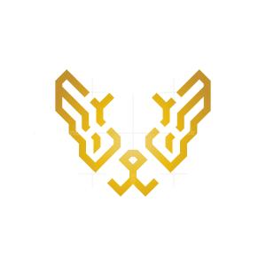 Golden Bulldog Head Logo
