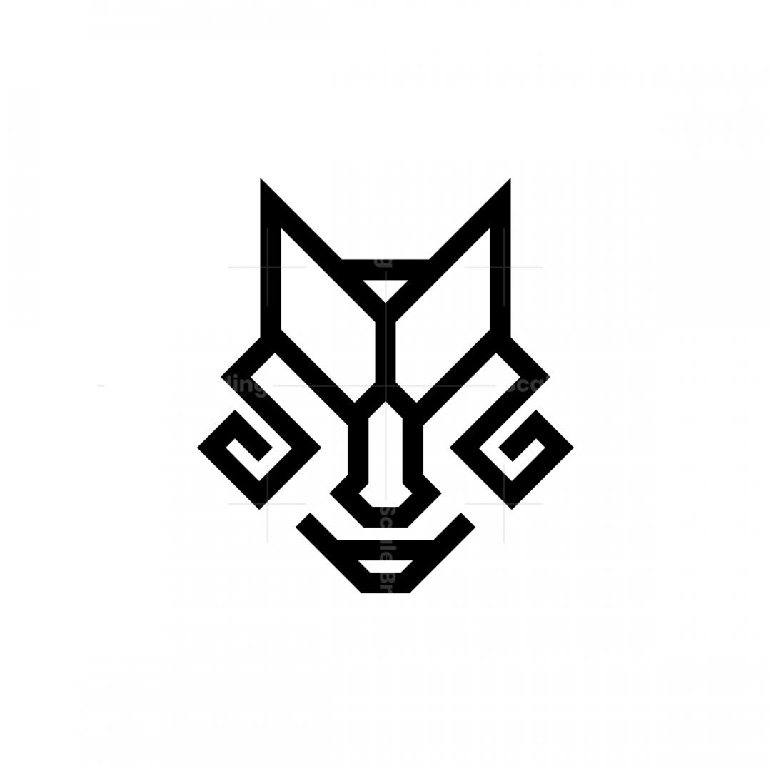 glyph black wolf head logo glyph black wolf head logo