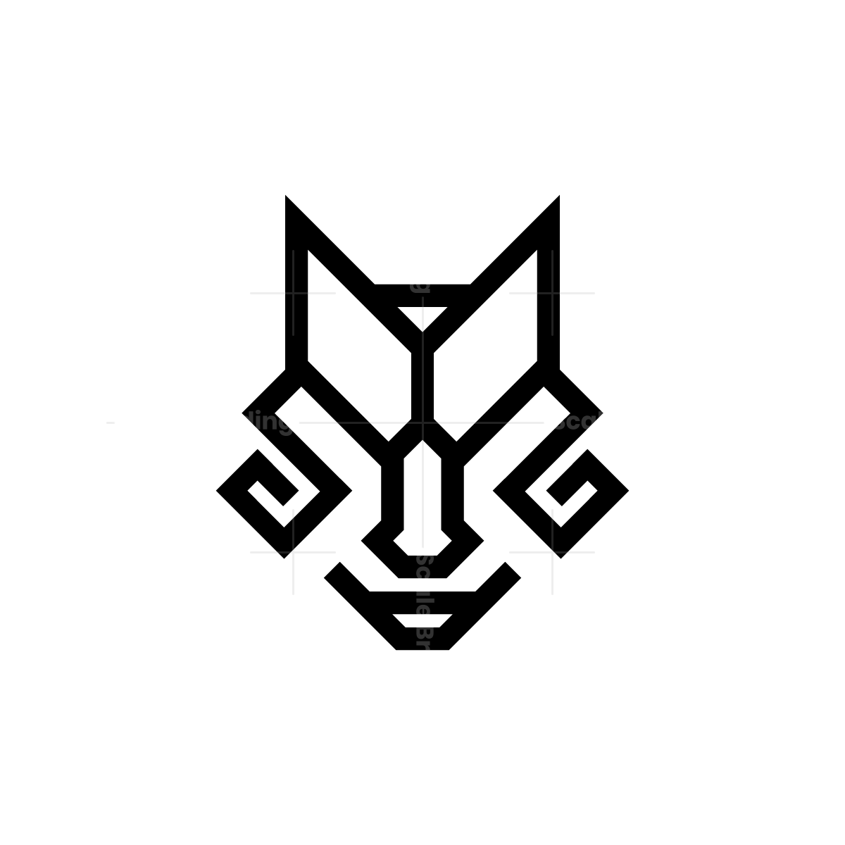 Glyph Black Wolf Head Logo