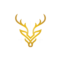 Golden Deer Head Logo