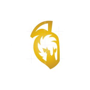 Golden Spartan Helmet Logo