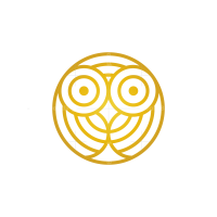 Hypnotic Golden Owl Logo