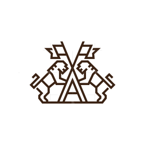 Letter A Flag Lions Logo Lion Logo