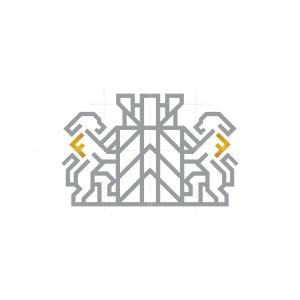 Letter F Fort Lions Logo