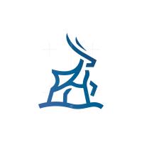 Line Blue Deer Logo Stag Logo