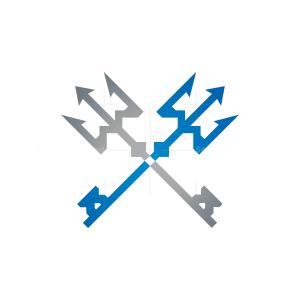 Poseidon Trident Real Estate Logo