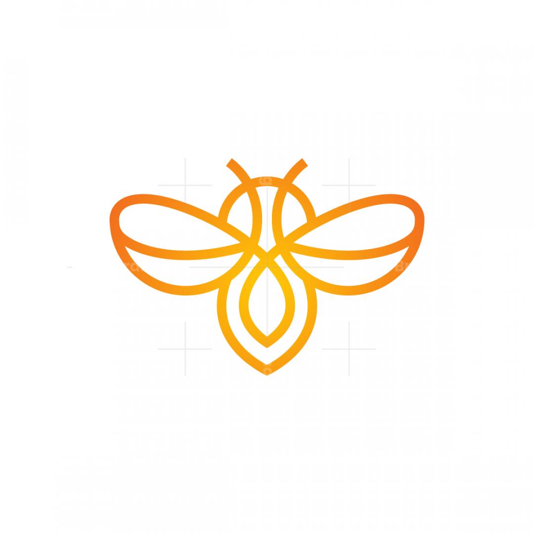 Orange Bee Logo Flying Bee Logo
