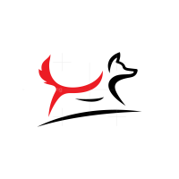 Red And Black Running Fox Logo