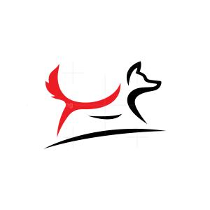 Red And Black Running Fox Logo