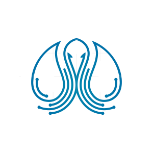 Water Drops Octopus Logo