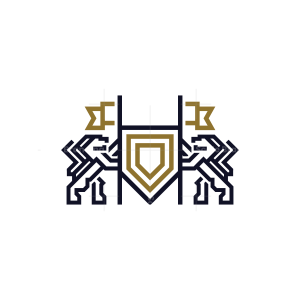 Lion Logo Victorious Flags Shield Lions Logo
