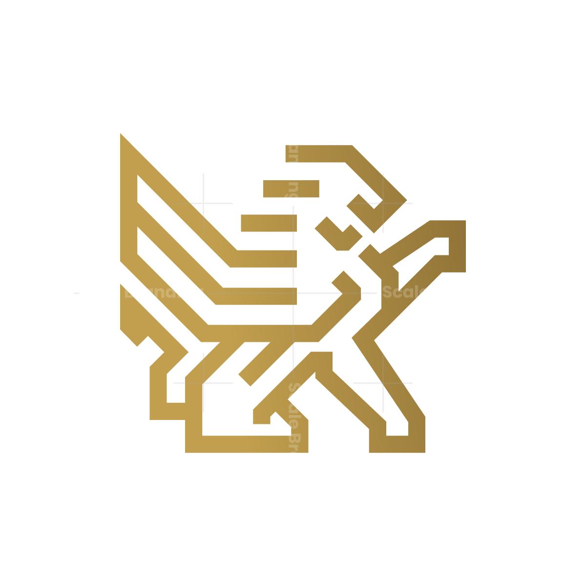 Golden Winged Capital Lion Logo