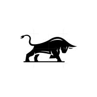 Attacking Black Bull Logo Taurus Logo