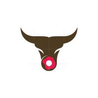 Doughnut Donut Bull Logo