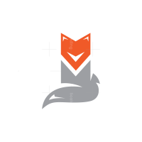 Cute Sitting Grey Fox Logo