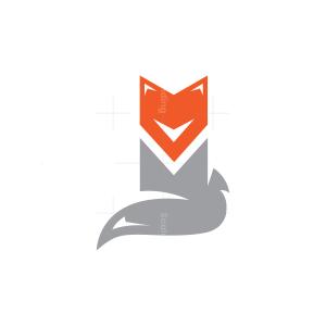 Cute Sitting Grey Fox Logo