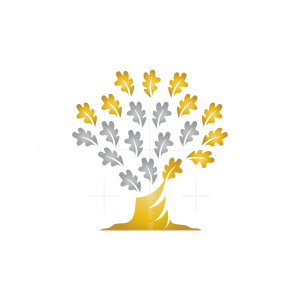 Gold And Silver Oak Tree Logo