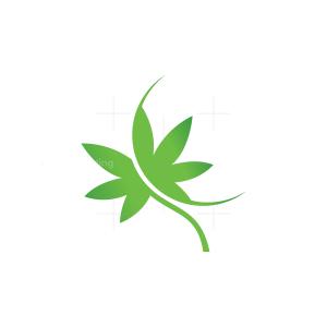 Green Cannabis Leaf Logo