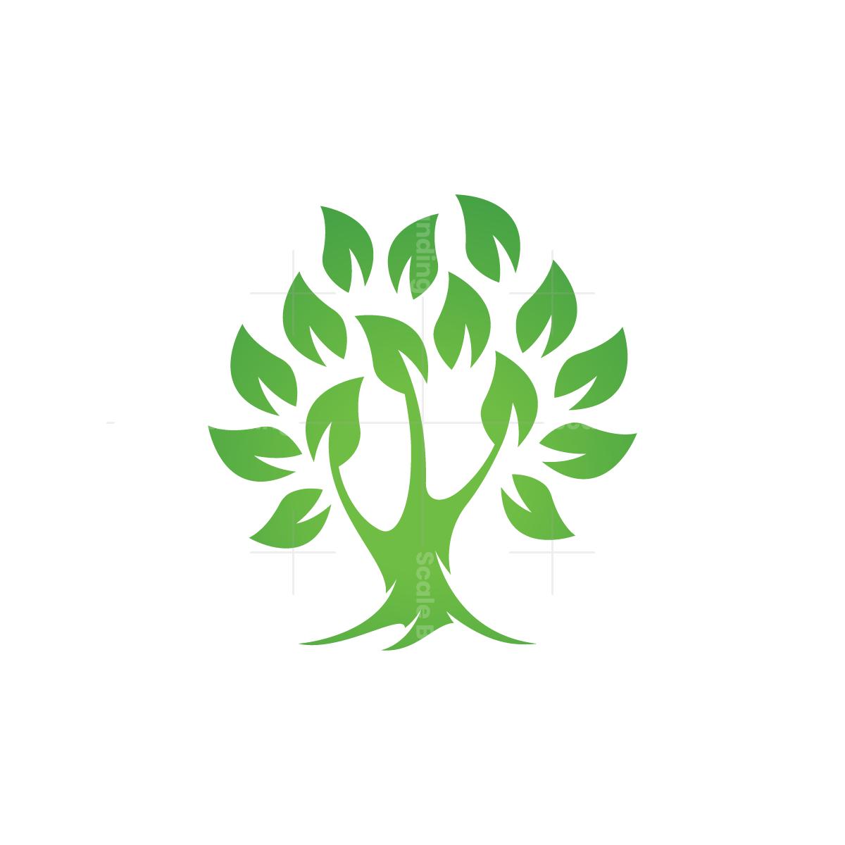 Green Leaves Tree Logo