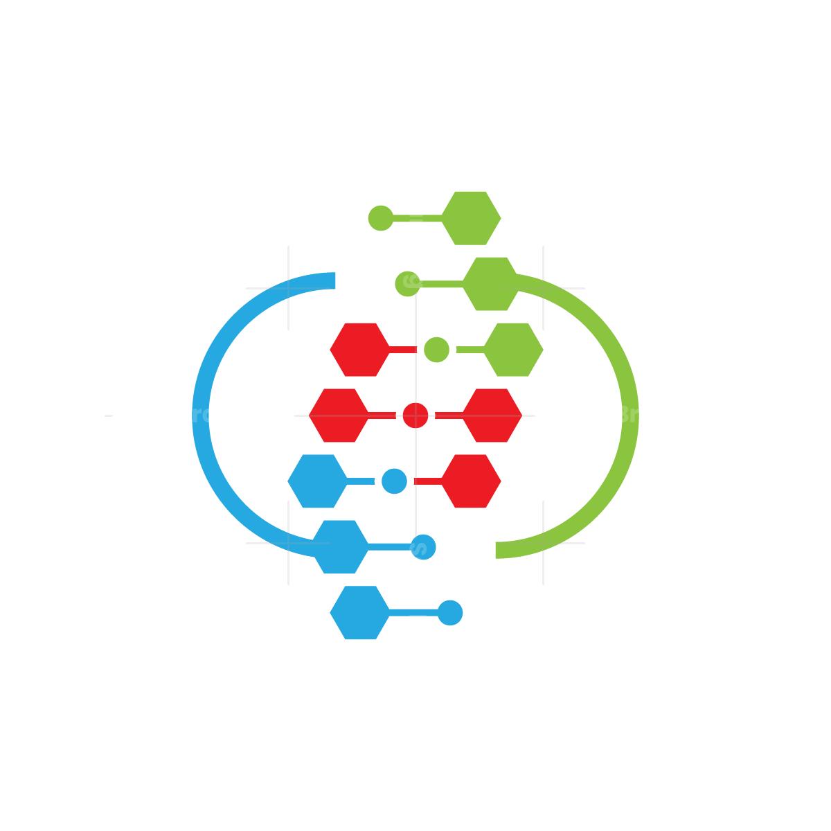 Hexagon DNA Chain Logo