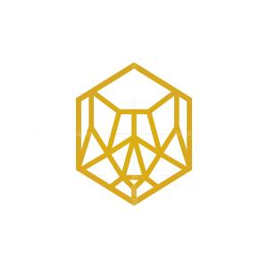 Golden Hexagon Front Wolf Head Logo