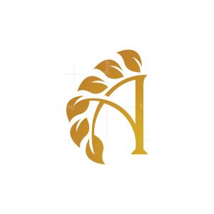 Nature Golden Letter A Leaves Logo