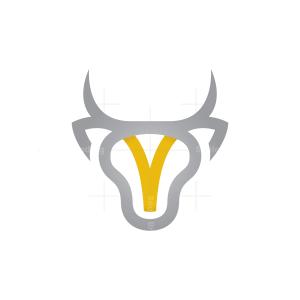 Letter V Bull Logo Bull Head Logo
