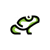 Linear Black Green Frog Logo