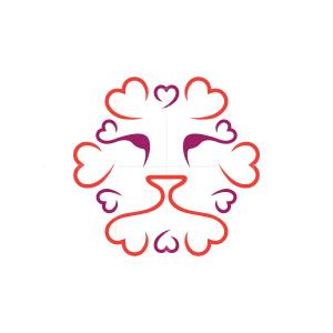 Heart Love Lion Logo