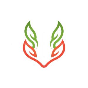 Nature Fox Logo Leaves Fox Head Logo
