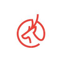 Red Circle Deer Head Logo
