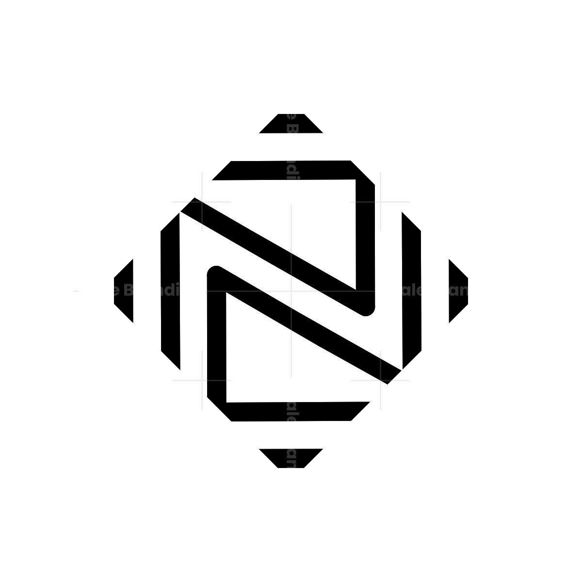 geometric n letter logo