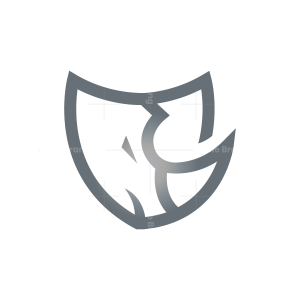 Silver Shield Rhino Logo Security Rhinoceros Logo