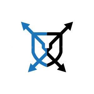 Shield Spear Lion Logo