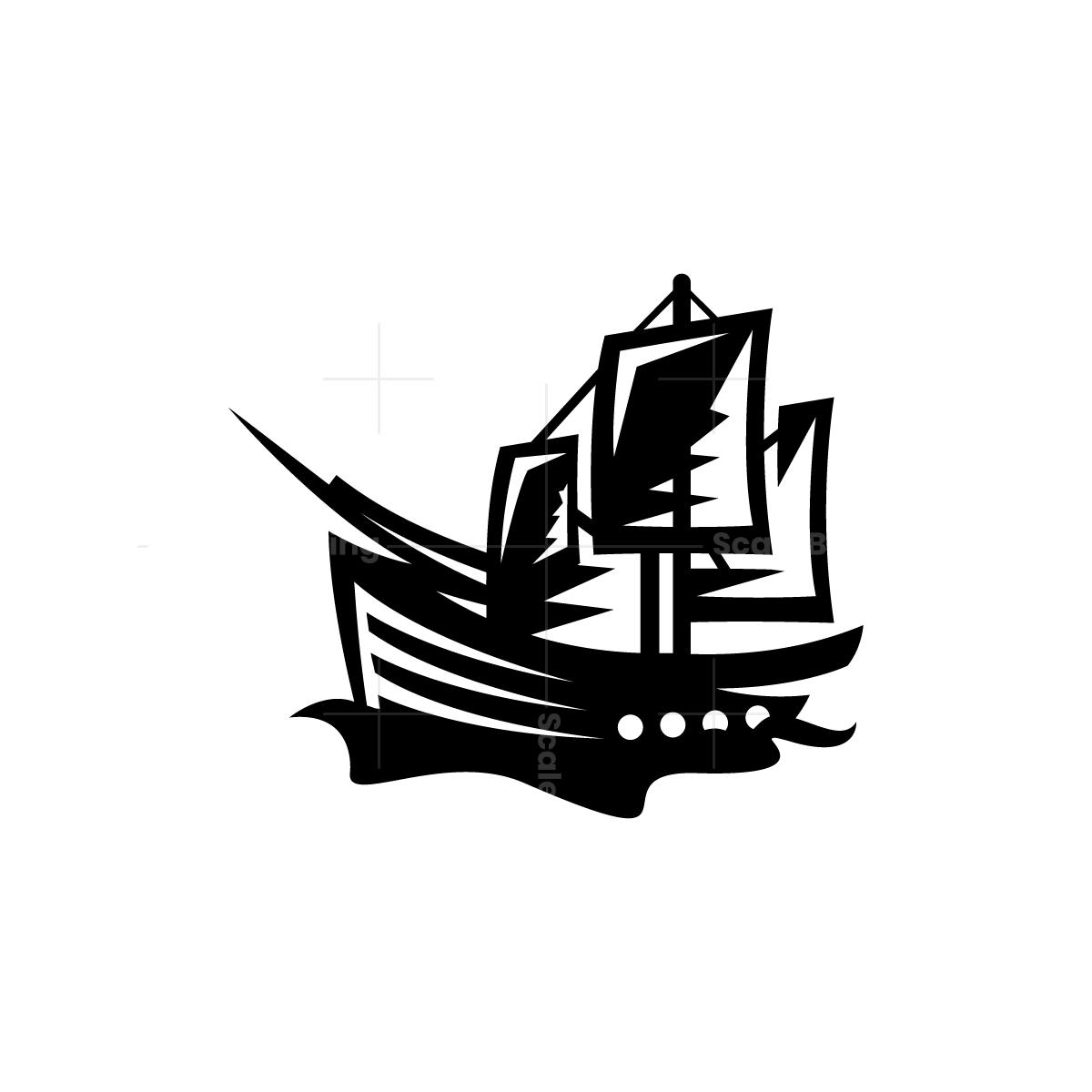 Black Pirate Ship Logo