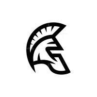 Black Spartan Helmet Logo