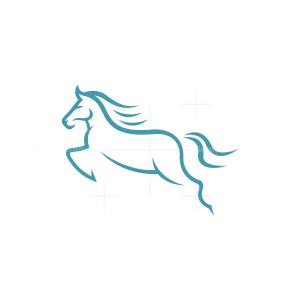 Blue Jumping Horse Logo