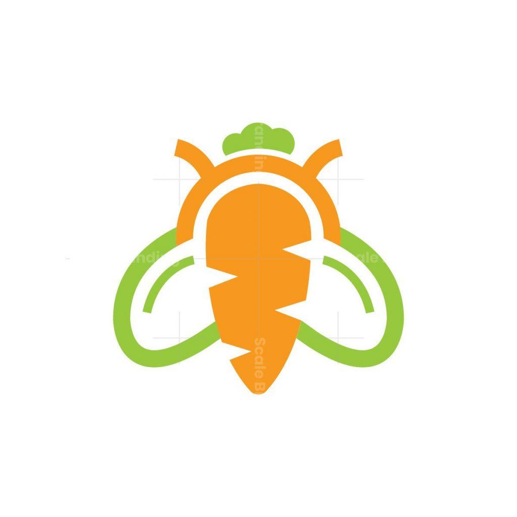 Carrot Vegetables Bee Logo